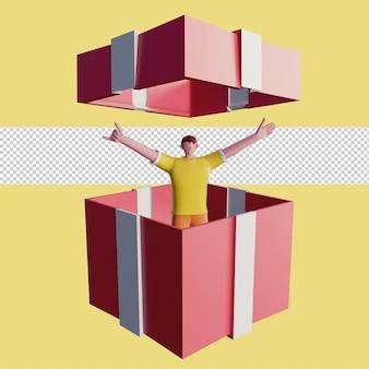 Ilustración 3d de gente feliz en una caja de regalo psd premium