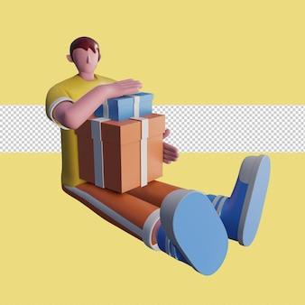 Ilustración 3d de gente feliz lleva cajas de regalo