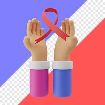 Ilustración 3d del gesto de la mano del día mundial del sida en fondo transparente