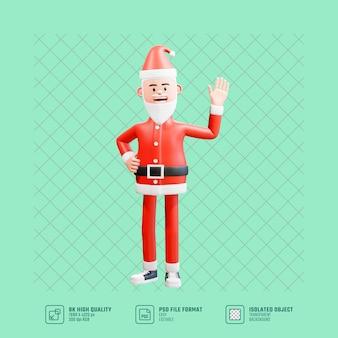 Ilustración 3d del gesto de saludo feliz papá noel agitando la mano y la mano derecha en la cintura. concepto de navidad diciendo hola