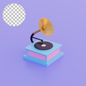 Ilustración 3d de gramófono de objeto simple