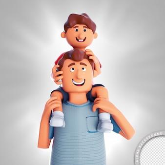 Ilustración 3d hijo en el cuello del padre feliz día del padre