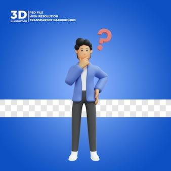 Ilustración 3d de un hombre pensando en una idea premium psd