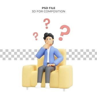 Ilustración 3d de un hombre pensando en una idea sentado en una silla premium psd
