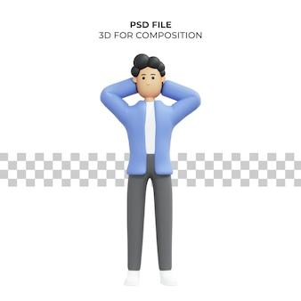 Ilustración 3d de un hombre sosteniendo su cabeza premium psd