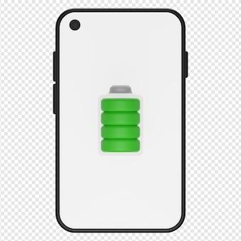 Ilustración 3d del icono de batería de teléfono completo psd