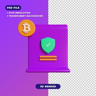 Ilustración 3d del icono de certificado de bitcoin