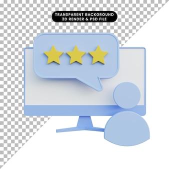 Ilustración 3d del icono de personas de calificación frente al monitor