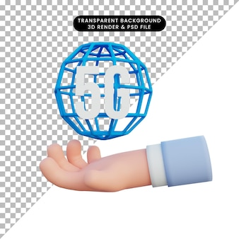 Ilustración 3d ilustración 5g con mano