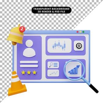 Ilustración 3d de la ilustración de la interfaz de usuario web