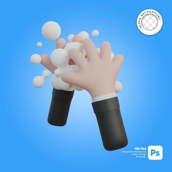 Ilustración 3d de lavado de manos
