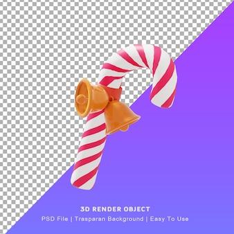 Ilustración 3d de lindo icono de bastón de caramelo con el día de navidad ellos