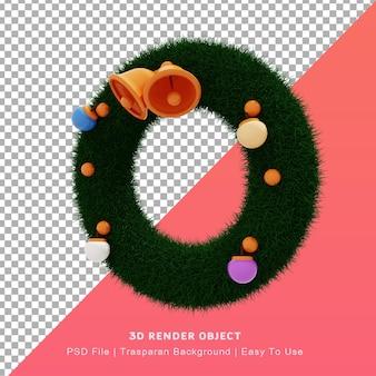Ilustración 3d del lindo icono de krans de anillo de corona con tema del día de navidad