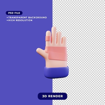 Ilustración 3d de mano vendada