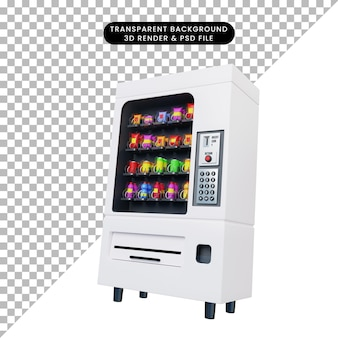 Ilustración 3d de máquina expendedora