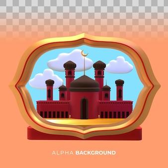 Ilustración 3d. mezquita islámica de año nuevo