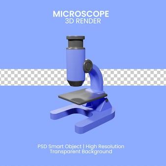 Ilustración 3d de microscopio de laboratorio para científicos