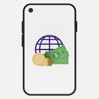Ilustración 3d de moneda de dinero y globo en el icono de teléfono inteligente psd