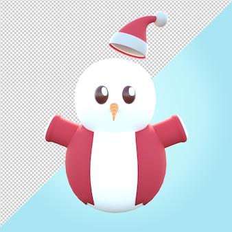 Ilustración 3d de muñeco de nieve con suéter rojo y sombrero de navidad