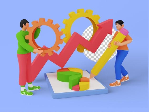 Ilustración 3d del negocio de gestión de proyectos con trabajo en equipo
