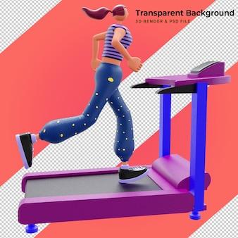 Ilustración 3d la niña corre en la caminadora