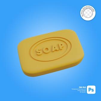 Ilustración 3d de objeto simple de jabón