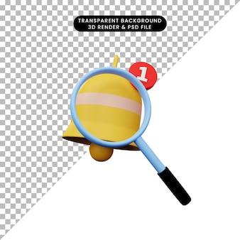 Ilustración 3d de un objeto simple con lupa a la campana de notificación