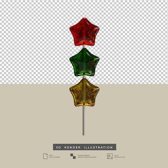 Ilustración 3d de palo de caramelo estrella multicolor realista