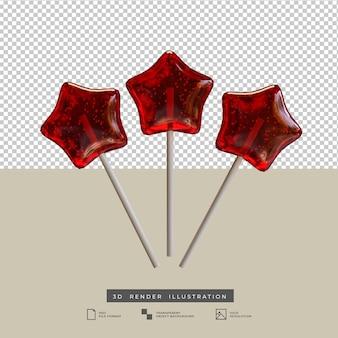 Ilustración 3d de palo de caramelo estrella roja realista