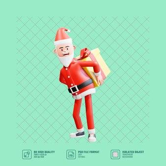Ilustración 3d papá noel lleva un gran regalo de navidad en la espalda