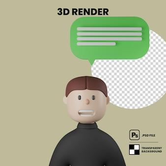 Ilustración 3d personaje masculino de dibujos animados hablando con el icono de mensaje