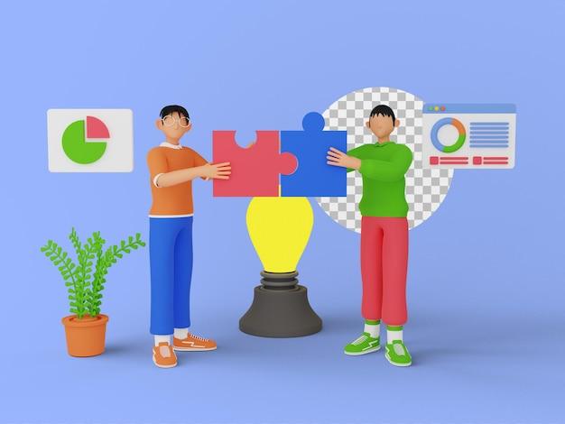 Ilustración 3d de personas de trabajo en equipo con pieza de rompecabezas