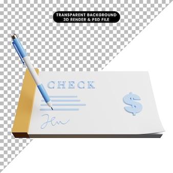 Ilustración 3d del recibo de cheque de concepto de pago con bolígrafo y firma