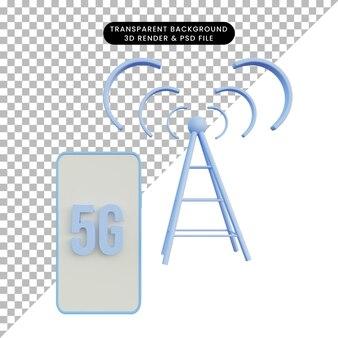 Ilustración 3d red 5g en teléfono con torre