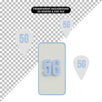 Ilustración 3d red 5g en el teléfono