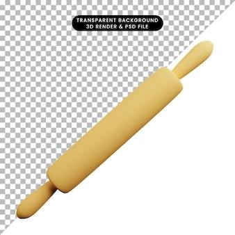 Ilustración 3d de rodillo de cosas de cocina