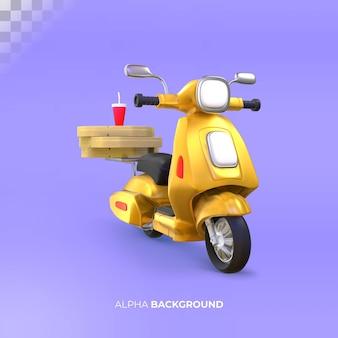Ilustración 3d de scooter de entrega con cajas de pizza. representación 3d