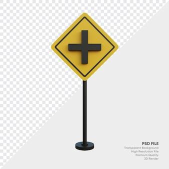 Ilustración 3d de la señal de tráfico
