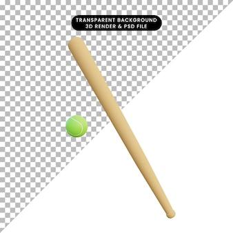Ilustración 3d simple objeto deporte béisbol