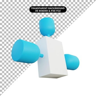Ilustración 3d simple objeto satelital