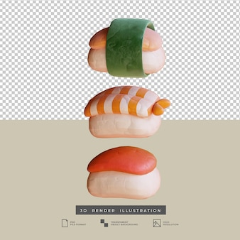 Ilustración 3d de sushi de comida japonesa linda estilo arcilla aislado