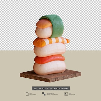 Ilustración 3d de sushi de comida japonesa linda estilo arcilla