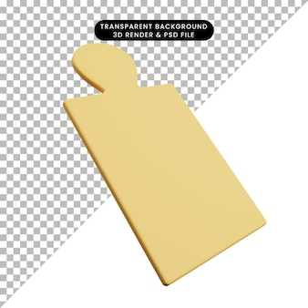 Ilustración 3d de tabla de cortar de utensilios de cocina