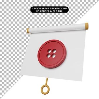 Ilustración 3d del tablero de presentación de objeto simple vista ligeramente inclinada con el botón