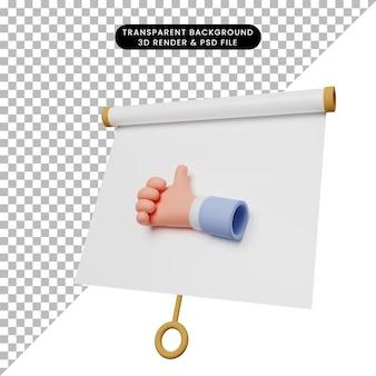 Ilustración 3d del tablero de presentación de objeto simple vista ligeramente inclinada con los pulgares hacia arriba de la mano