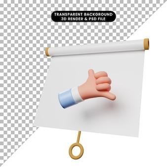 Ilustración 3d del tablero de presentación de objeto simple vista ligeramente inclinada con el símbolo de llamada de mano