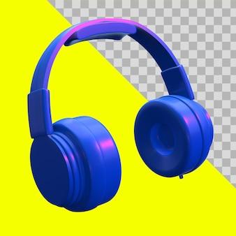 Ilustración 3d trazado de recorte de auriculares azul