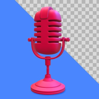 Ilustración 3d de trazado de recorte de micrófono rojo