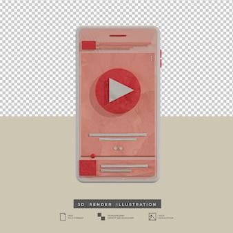 Ilustración 3d de vista frontal de diseño de aplicación de música de tema rosa estilo arcilla