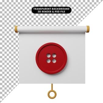 Ilustración 3d de la vista frontal del tablero de presentación de objetos simples con botón